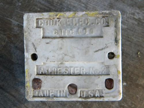 antique early electric lightning arrester Cook Electric Co, Chicago