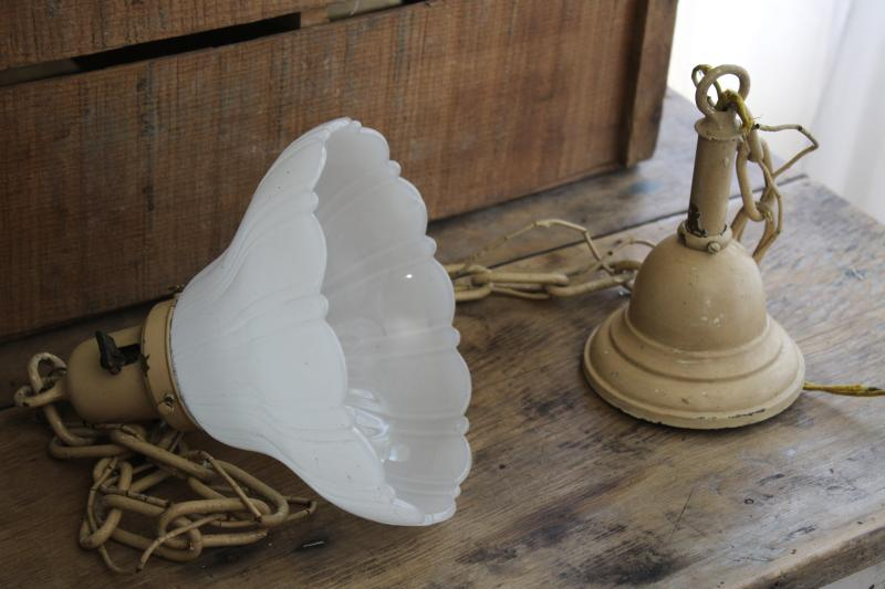 antique early electric pendant chain light fixture w/ white opalescent milk glass shade