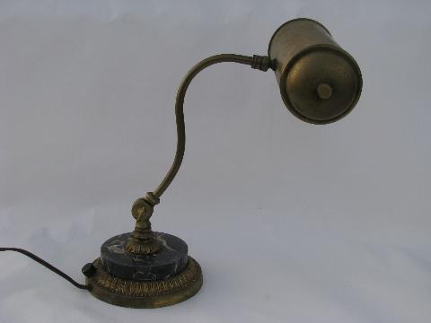 antique early electric vintage banker's desk light, old black marble lamp  base - Antique Early Electric Vintage Banker's Desk Light, Old Black Marble