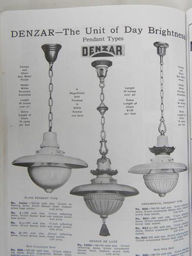Antique Early Vintage Denzar Pendant Light W