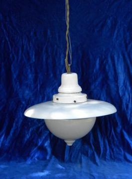 antique early industrial vintage, Denzar pendant light w/glass reflector shade