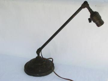 antique early industrial vintage brass adjustable desk work light