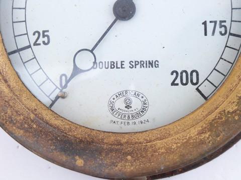 antique early industrial vintage, brass & iron steam boiler pressure ...