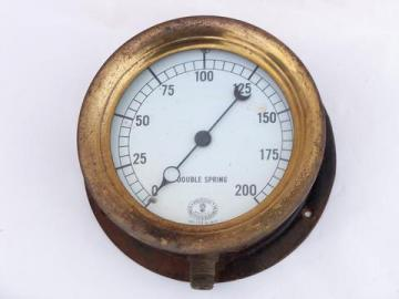 antique early industrial vintage, brass & iron steam boiler pressure gauge w/1924 patent date