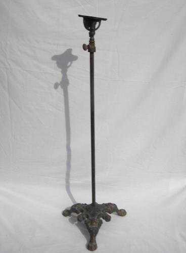 antique early industrial vintage iron adjustable work light stand
