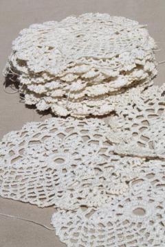 antique ecru cotton crochet lace doilies, large lot vintage crocheted star flower motifs