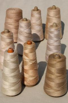 antique ecru tan faded brown colors primitive grubby old spools of vintage cotton cord thread