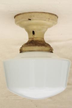 antique electric ceiling fixture light with industrial / schoolhouse milk glass lamp shade
