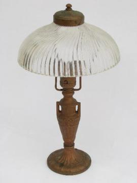 antique electric desk lamp, ornate cast iron w/ vintage prismatic glass shade