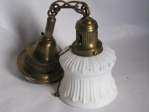 antique electric embossed ornate brass pendant light, old satin glass lamp shade