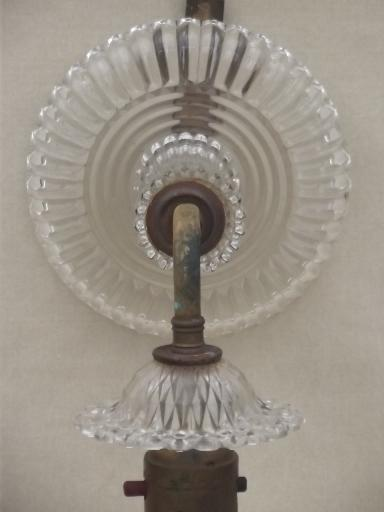 Antique Electric Light Wall Sconce Lamp W Prismatic