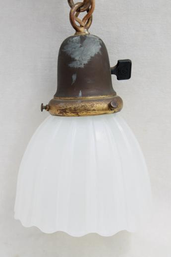 antique electric pendant light w/ glass lamp shade, vintage lighting as found