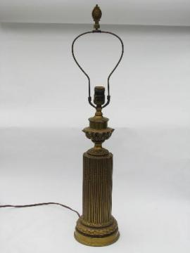 antique electric table lamp, ornate french baroque ormulo gold rococo metal