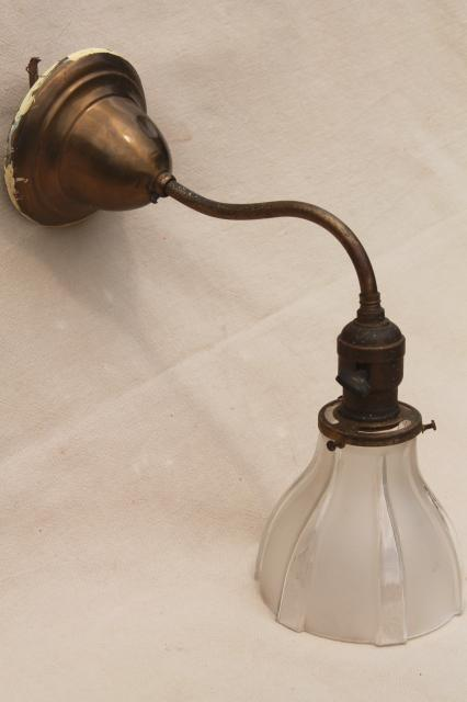 antique electric wall mount lamp, brass reading lamp sconce light w/ vintage glass lampshade