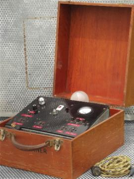 antique electrical power supply, vintage  meter w/bakelite panel & wood case
