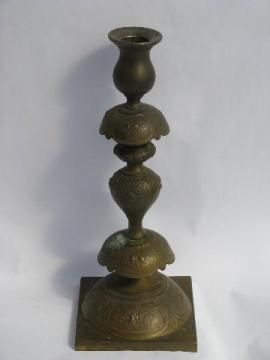 antique embossed brass & silver altar candlestick, russian occupied Poland