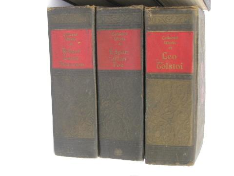 antique embossed covers 1920s vintage classic works, 6 volume book set
