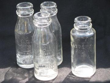 antique embossed glass Edison Battery Oil bottles, machine age vintage
