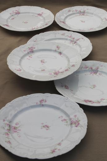antique embossed porcelain dinner plates set Weimar Germany pink floral china & antique embossed porcelain dinner plates set Weimar Germany pink ...