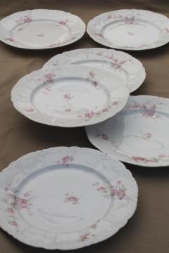 antique embossed porcelain dinner plates set, Weimar Germany pink floral china