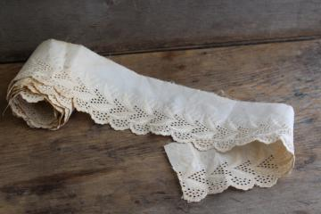antique embroidered cotton eyelet edging, wide flounce early 1900s vintage sewing trim