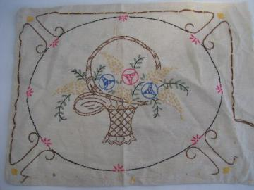 antique embroidered throw pillow cover w/ flower basket, vintage linen