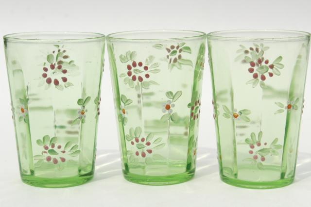 Antique Enameled Glass Tumblers Hand Painted Vintage
