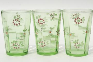 antique enameled glass tumblers, hand painted vintage green depression glass drinking glasses