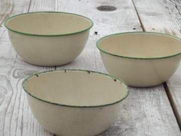 antique enamelware kitchen bowls, vintage cream & jadite green enamel