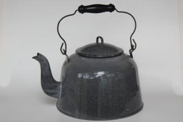 antique enamelware teakettle, big one gallon kettle vintage grey graniteware