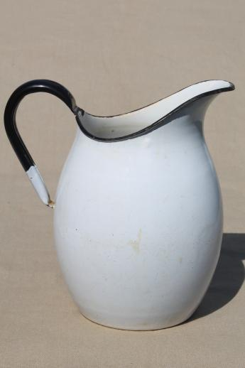 antique enamelware wash pitcher, shabby vintage white enamel water pitcher