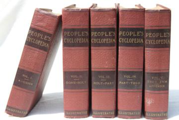 antique encyclopedia books 5 volume library w/ vintage engravings, photos, color plates, dated 1914