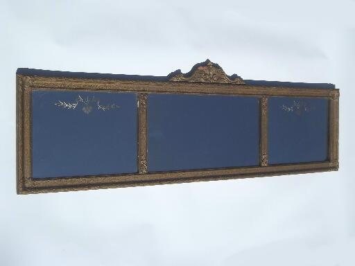 antique etched glass mirror in shabby ornate gold yard
