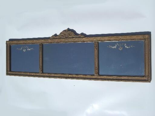 Antique etched glass mirror in shabby ornate gold yard for Long glass mirror