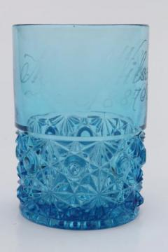 antique etched glass tumbler, 1880s honeymoon souvenir glass engraved Mrs. Wilson