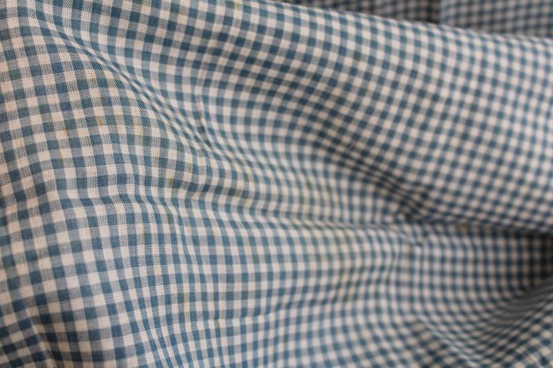 antique fabric, 1920s or 30s vintage cotton lawn woven gingham checks teal blue & white