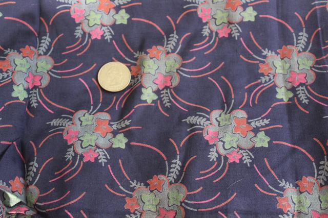 antique fabric, starflower print navy blue cotton, 1920s 1930s vintage dress material