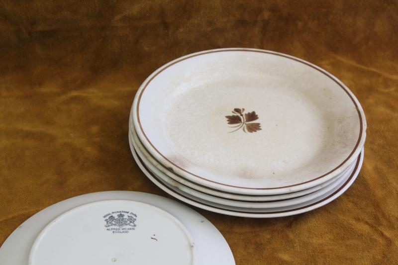 antique farm country kitchen china, very worn old Tea Leaf ironstone dinner plates