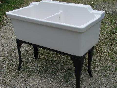 Exceptional Antique Farmhouse Vintage Ironstone Porcelain Double Basin Farm Kitchen Sink