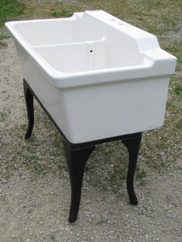 Antique Farmhouse Vintage Ironstone Porcelain Double Basin Farm Kitchen Sink