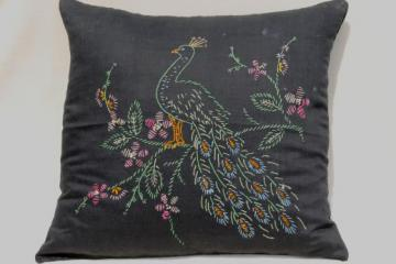 antique feather filled sofa pillow, black sateen cushion w/ embroidered peacock