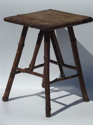 Antique Fern Stand Tortoise Shell Bamboo Low Plant Table