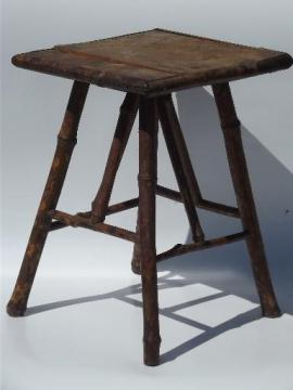 antique fern stand, tortoise shell bamboo low plant table 1890s vintage