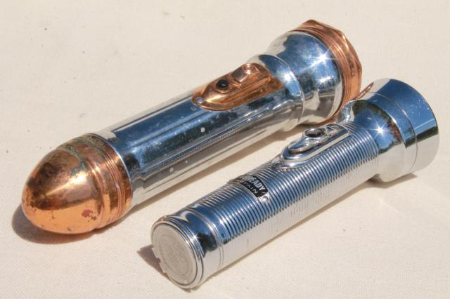Antique Flashlight Lot Early Electric Flashlights French