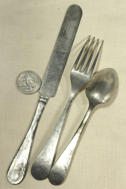 antique flatware, primitive rustic country pioneer tin silverware, knife fork spoon