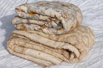 antique floral print cotton fabric comforters, eiderdown style vintage tied quilts
