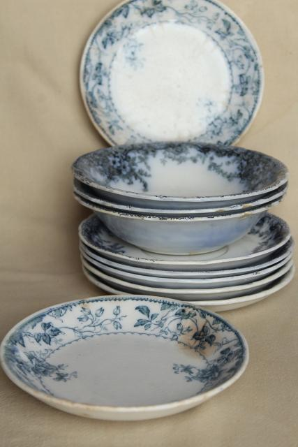 antique flow blue and white china, English Victorian era bowls & saucer plates
