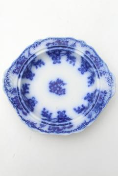 antique flow blue china, Claremont Johnson Bros embossed plate for round covered butter dish