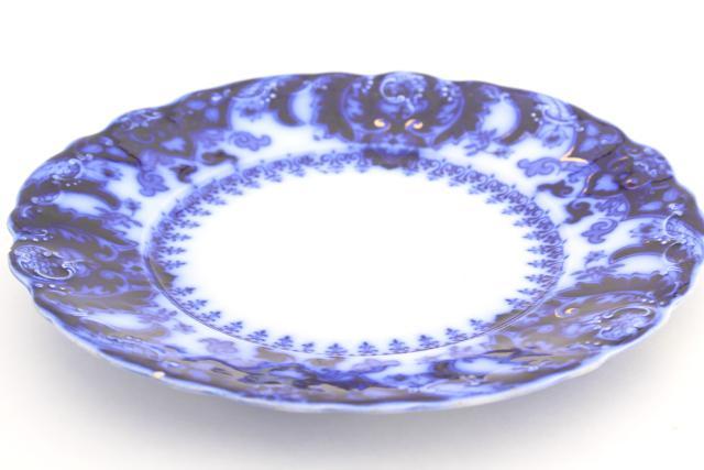 antique flow blue china plates Johnson Bros Florida pattern 1880s vintage  sc 1 st  Laurel Leaf Farm & flow blue china plates Johnson Bros Florida pattern 1880s vintage