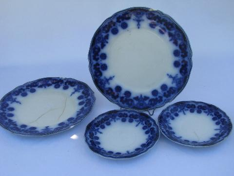 antique flow blue china plates vintage Johnson Bros. Stanley pattern dated 1899 & antique flow blue china plates vintage Johnson Bros. Stanley ...